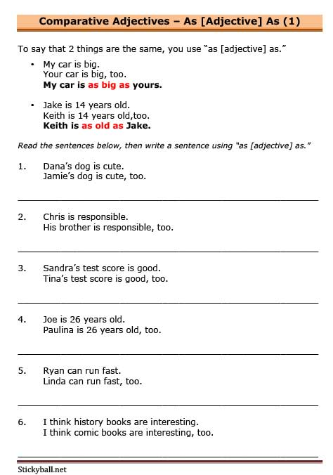 as-adjective-as-1 Esl Comparative Worksheet Pdf on free transportation, family relatives, family members, intermediate grammar, classroom language, first conditional, body parts, food vocabulary,