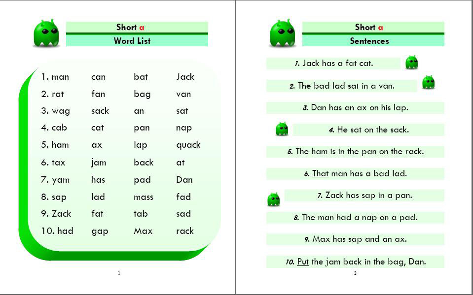 Phonics Monster Book 2 sample 1