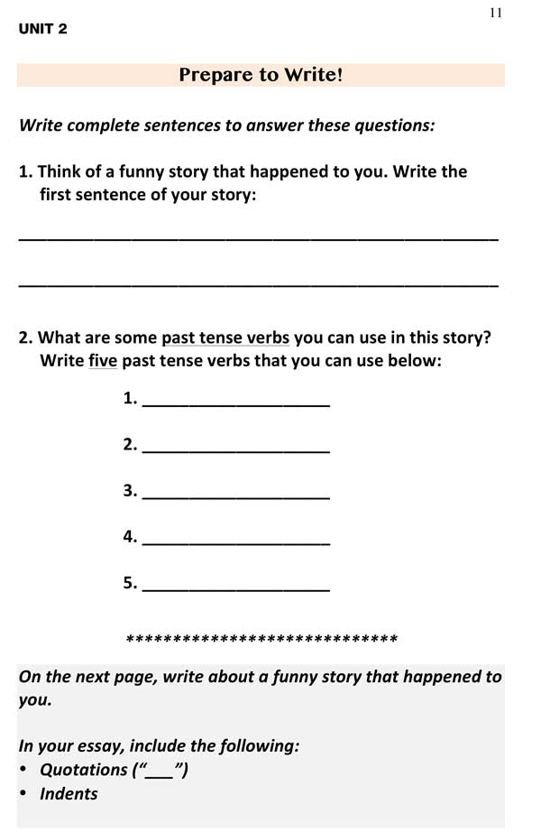 ideas for writing a funny story